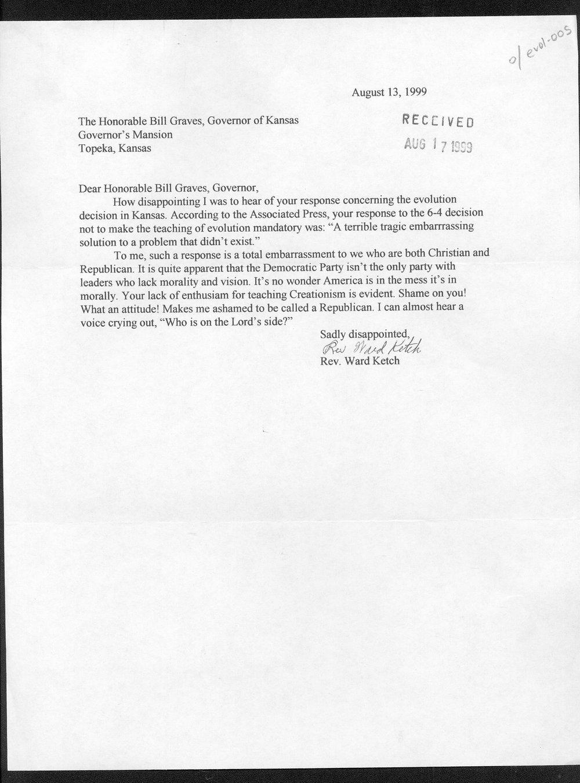 Governor William Graves evolution received correspondence - 1
