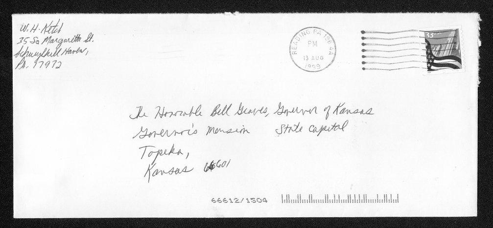 Governor William Graves evolution received correspondence - 2