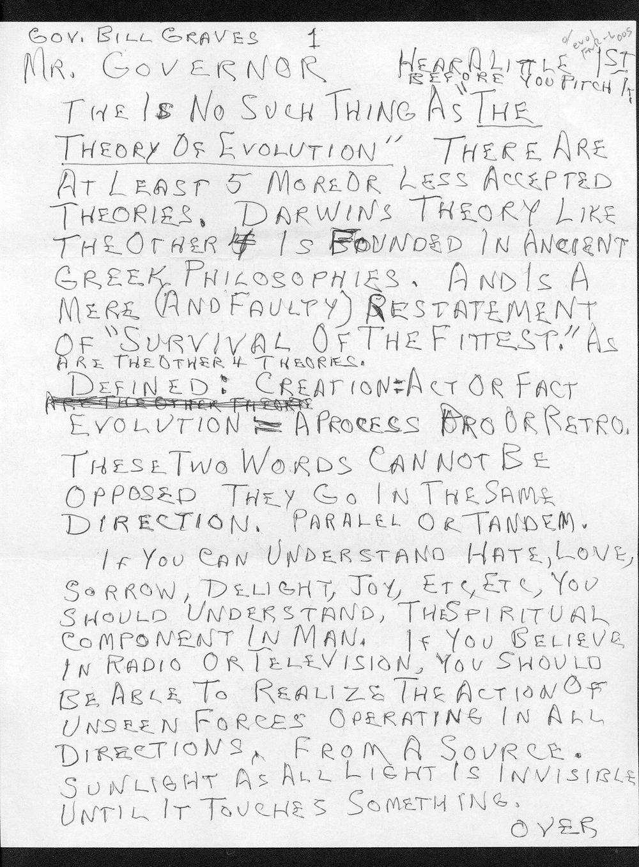 Governor William Graves evolution received correspondence - 3