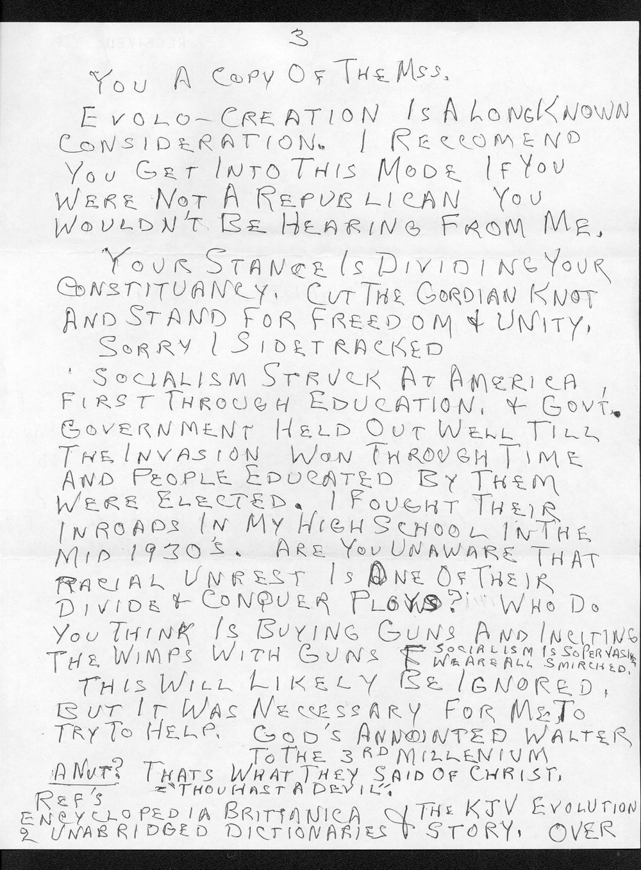 Governor William Graves evolution received correspondence - 5