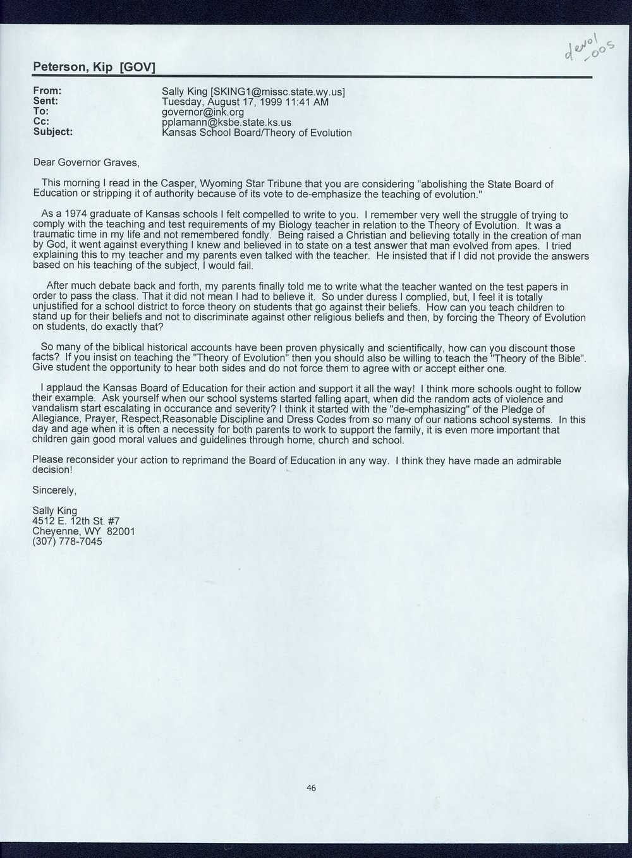 Governor William Graves evolution received correspondence - 7
