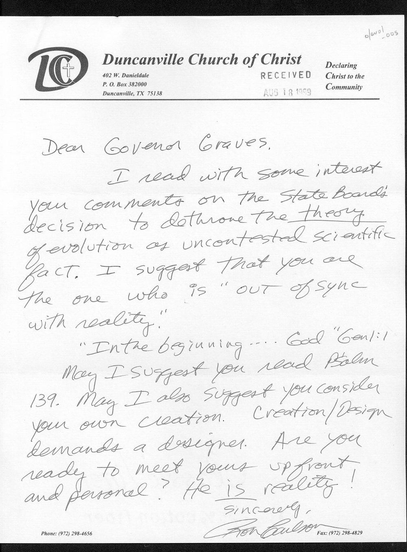 Governor William Graves evolution received correspondence - 10