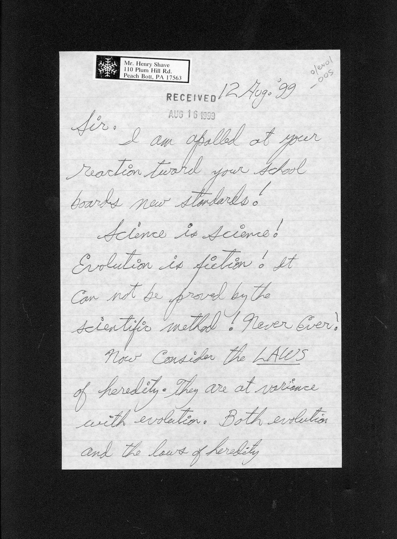 Governor William Graves evolution received correspondence - 12