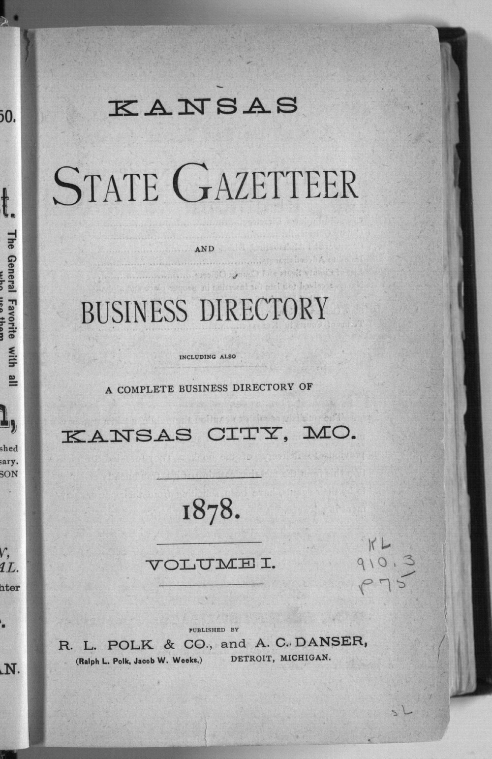 Kansas state gazetteer and business directory - Title Page