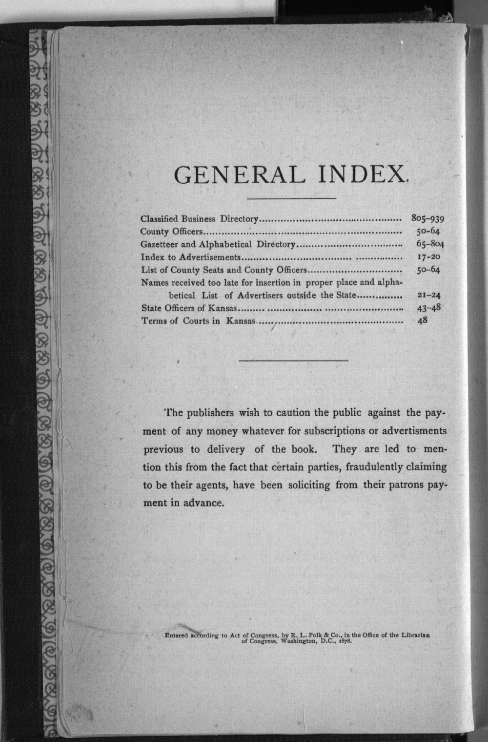 Kansas state gazetteer and business directory - General Index