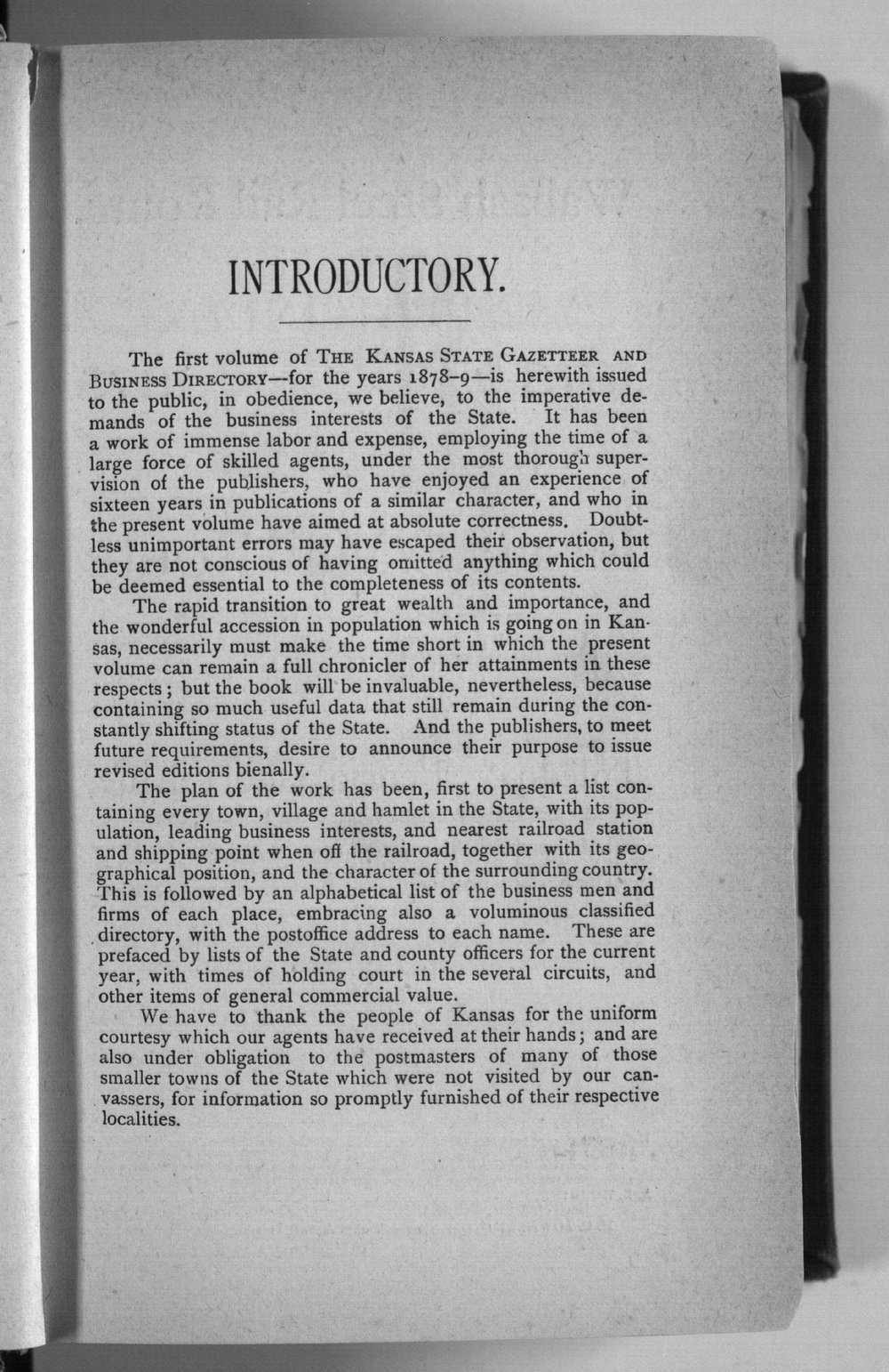 Kansas state gazetteer and business directory - Introductory