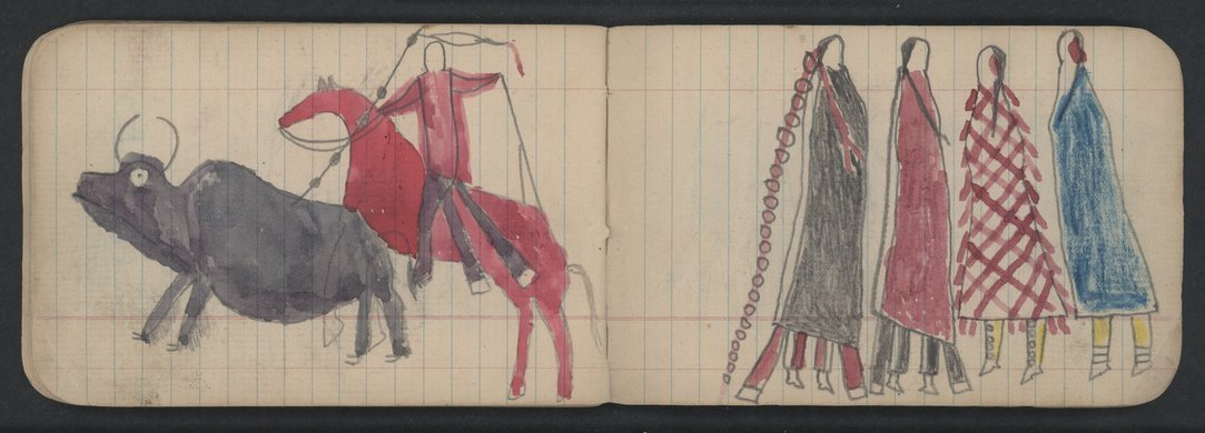 Pictures drawn by Wild Hog and other Cheyenne Indians - 71-70 Rotated 180