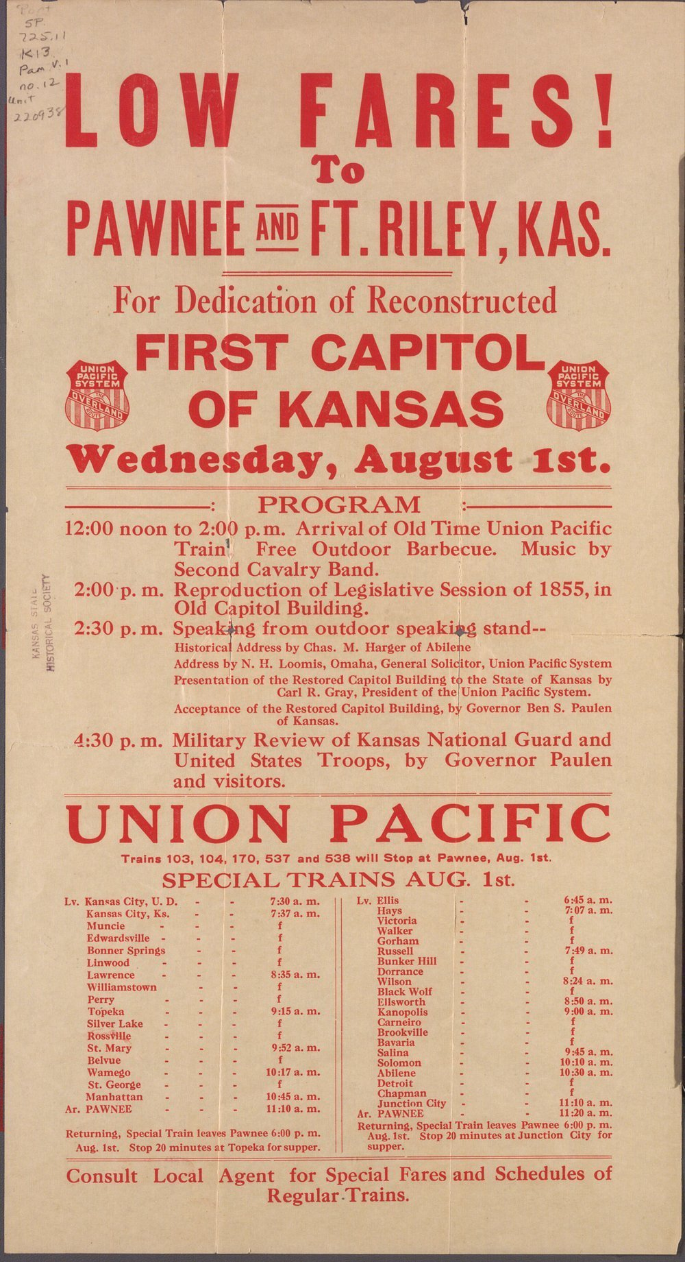 Dedication of reconstructed first capitol of Kansas