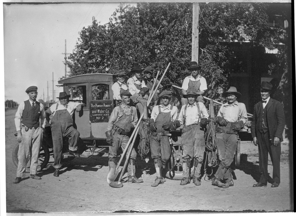 Pawnee Power and Water Company crew, Larned, Kansas