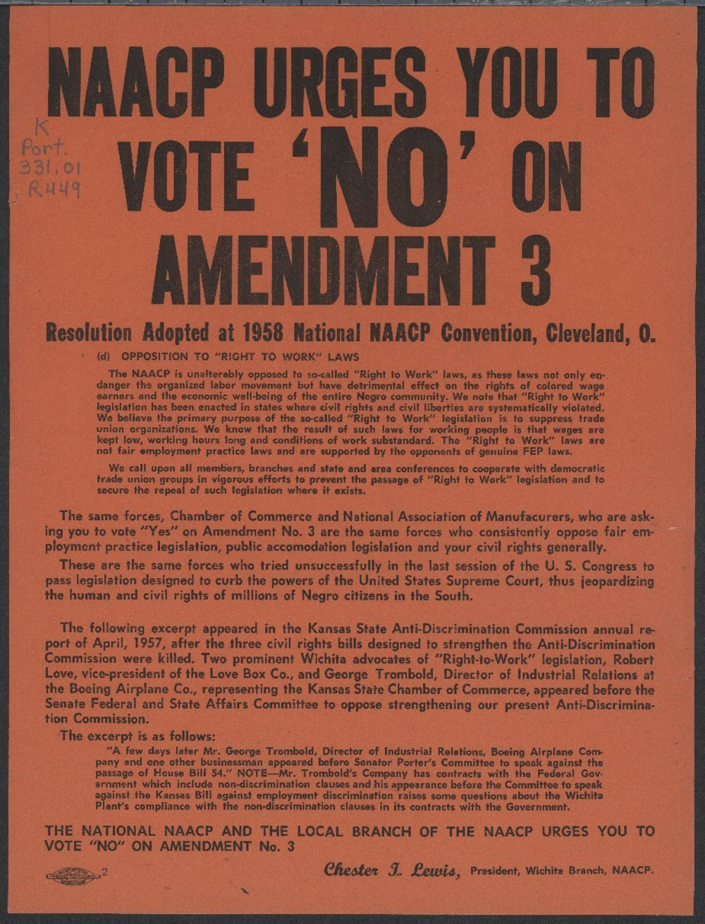National Association for the Advancement of Colored People (NAACP) urges you to vote no on amendment three