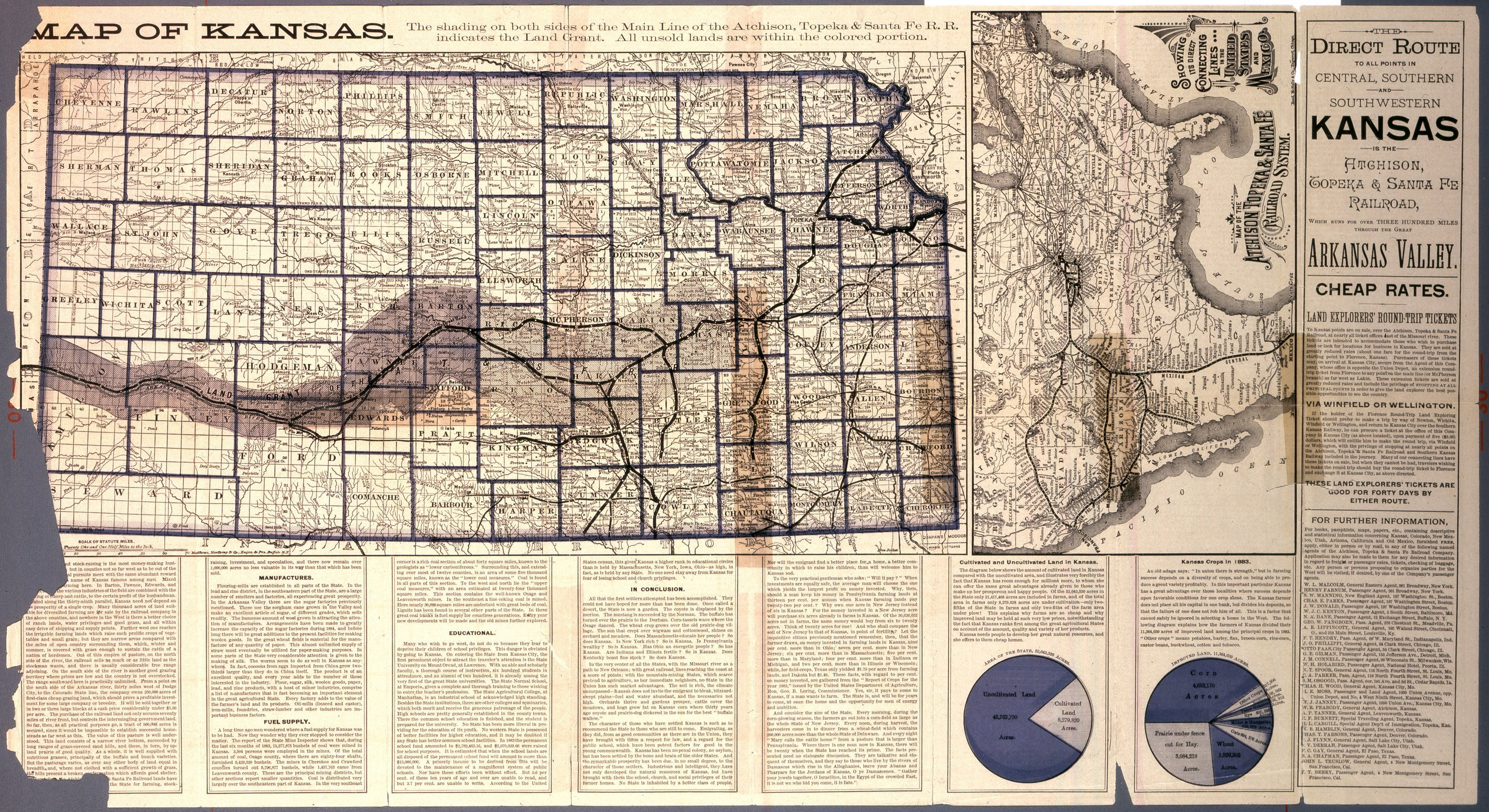 Map of Kansas. The direct route to all points in central, southern and southwestern Kansas is the Atchison, Topeka and Santa Fe Railroad - 1