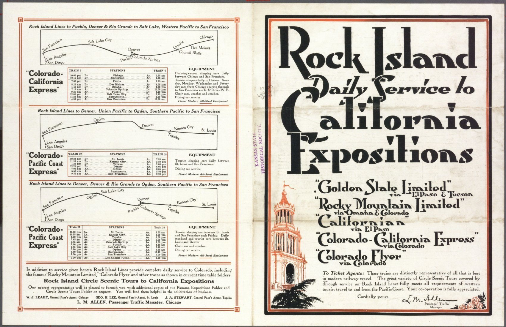 Rock Island to California expositions - 1