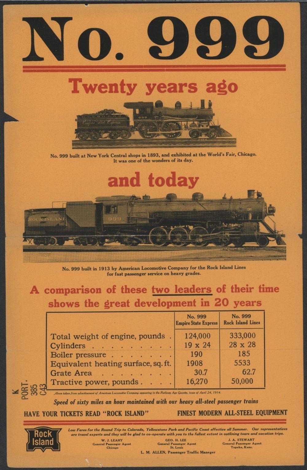 Locomotive No. 999 -- Twenty Years Ago and Today - 1