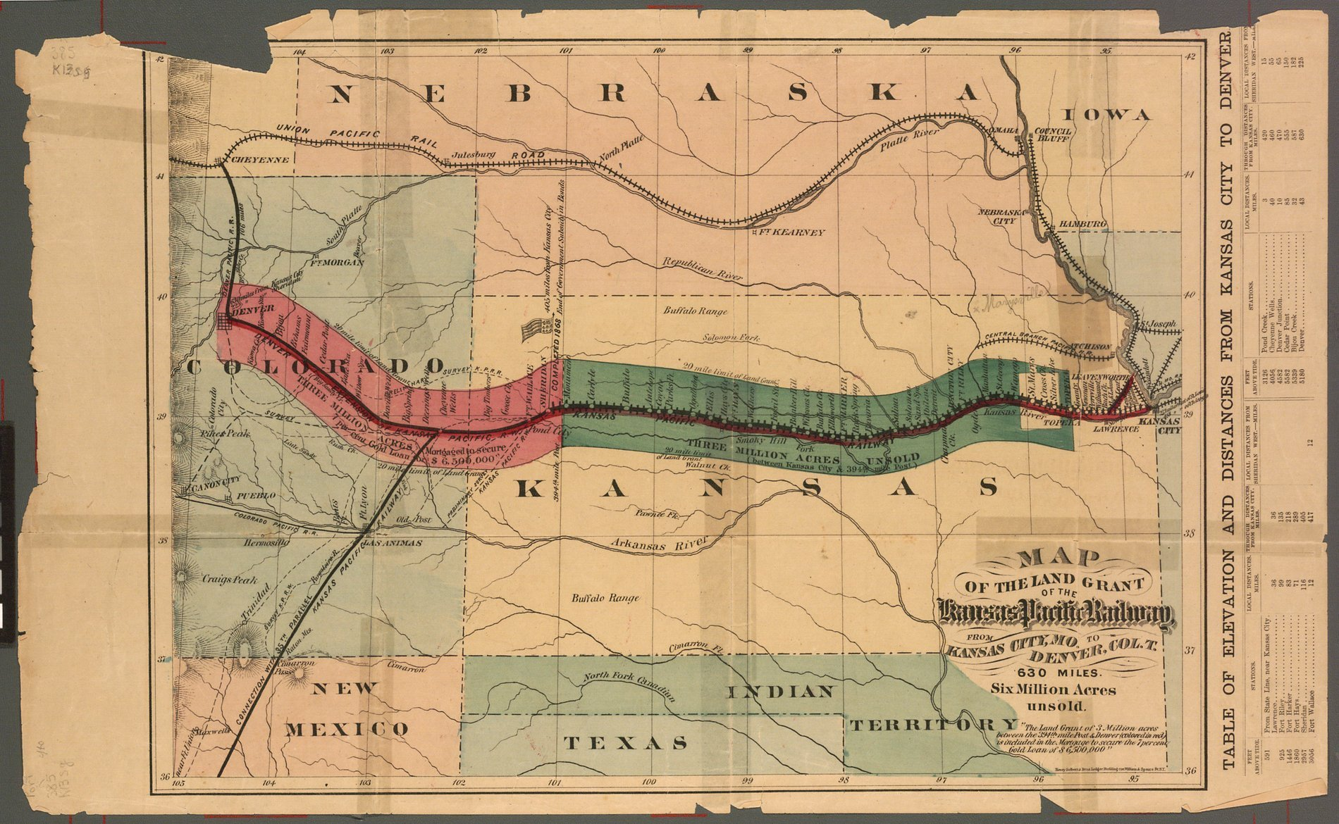 Map of the land grant of the Kansas Pacific Railway from Kansas City ...