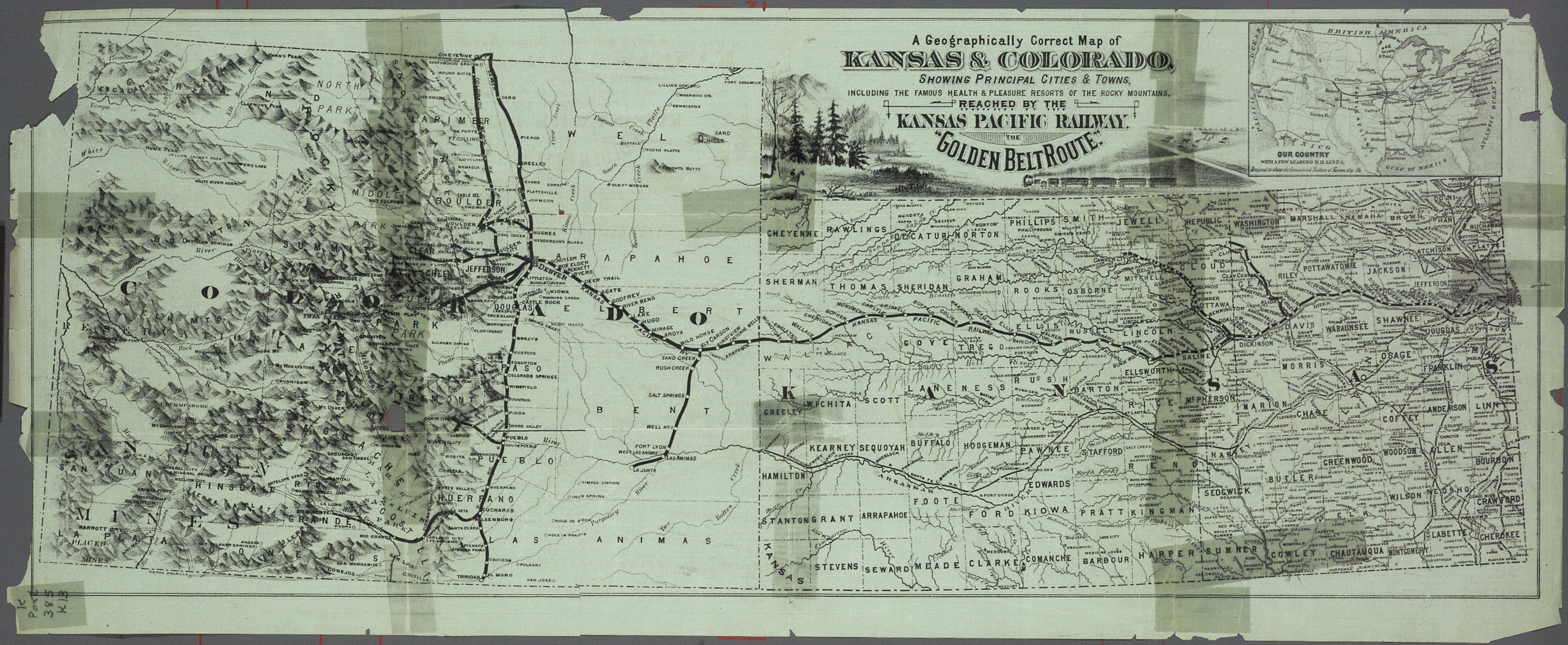 Free! Take a correct county map of Kansas Pacific Railway, Kansas and Colorado - 1