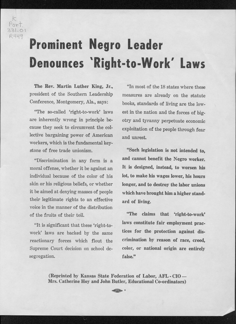 Prominent Negro leader denounces right-to-work laws