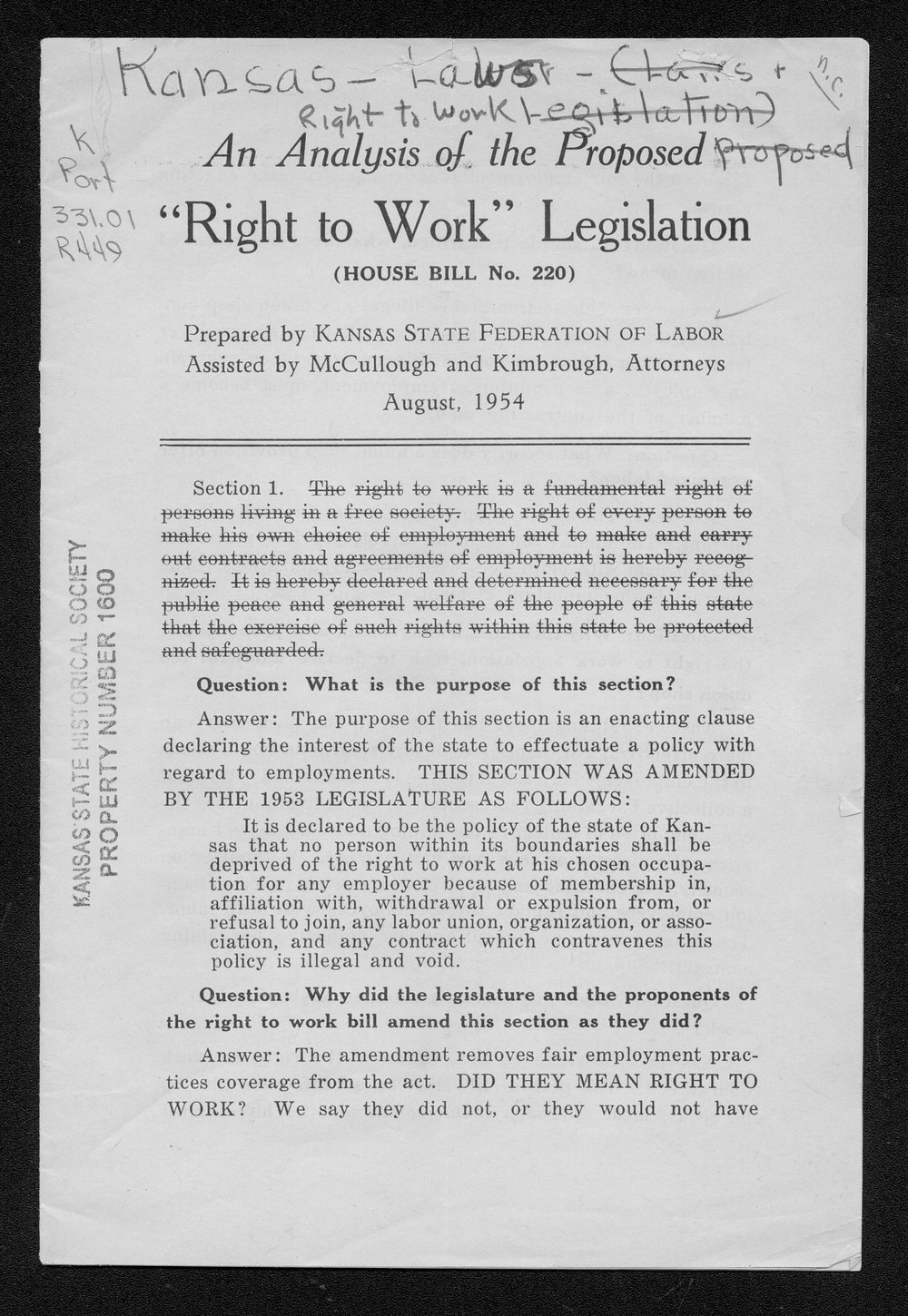 An analysis of the proposed right-to-work legislation - 1