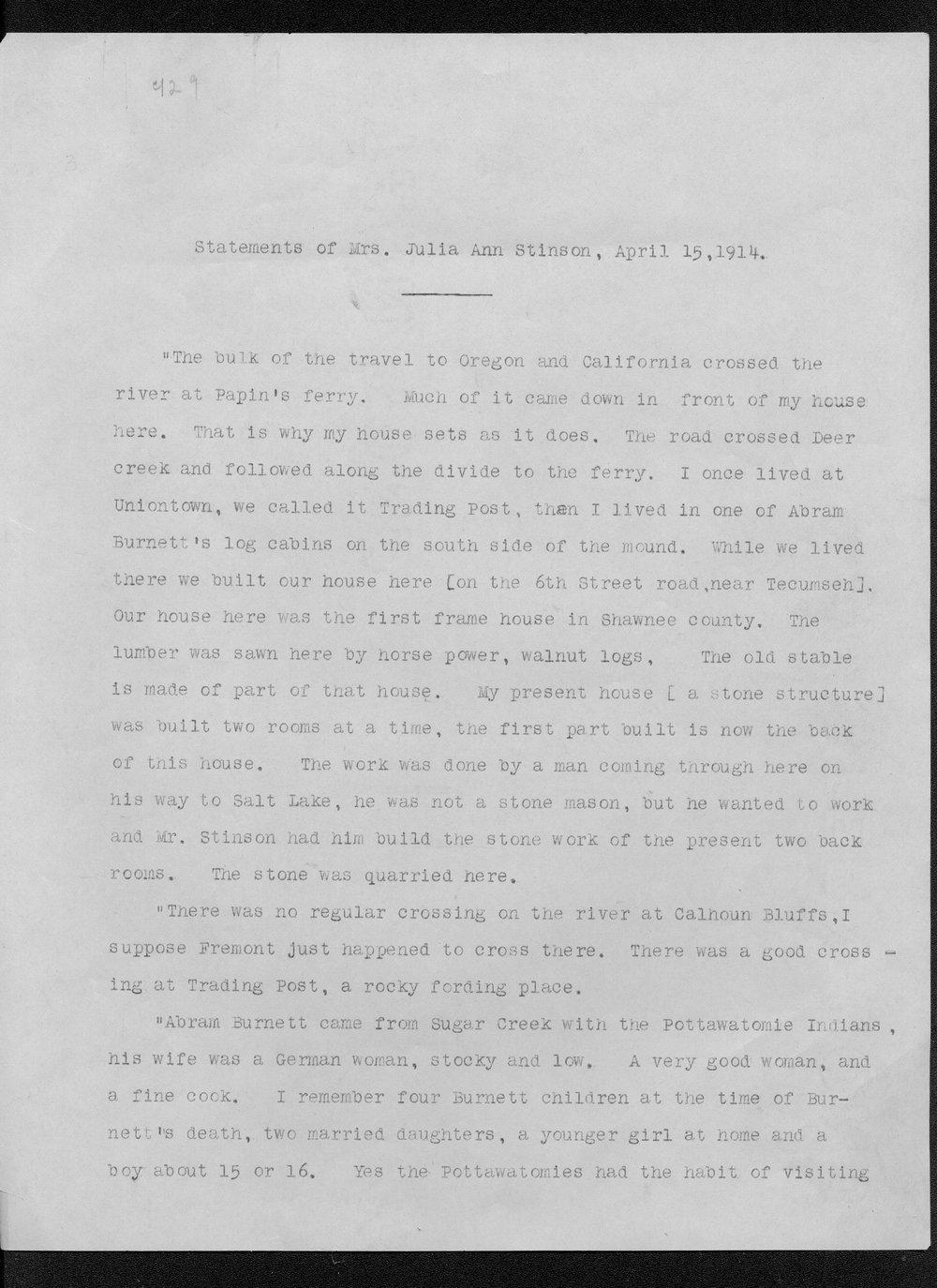 Julia Ann Stinson correspondence - 1