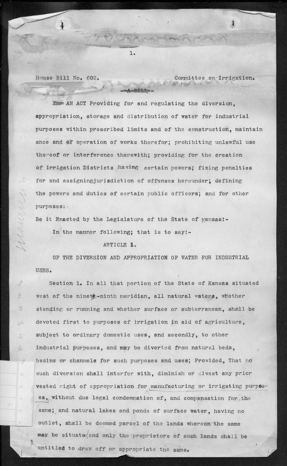 House Bill 602, Committee on Irrigation, Kansas Legislature - 1a