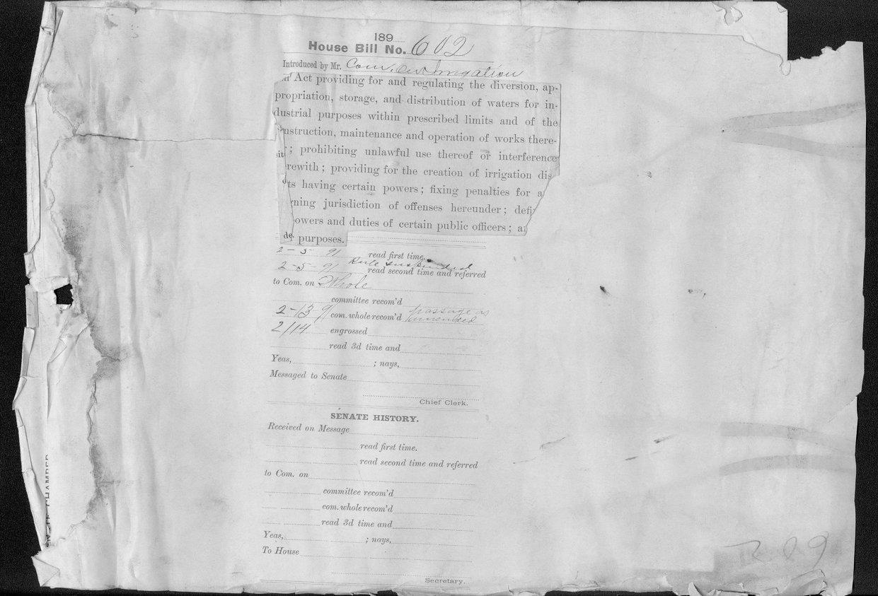 House Bill 602, Committee on Irrigation, Kansas Legislature - back of page 61