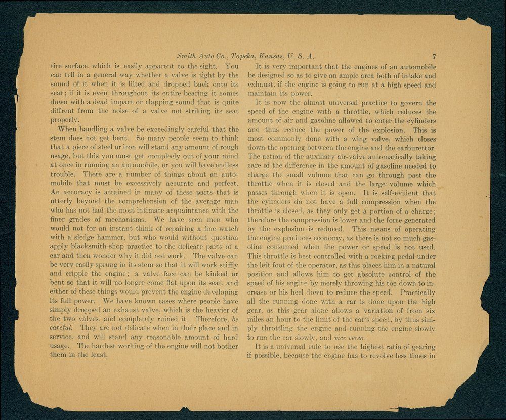 Catalogue-treatise upon the automobile. In two volumes. Volume two. The Smith Automobile Company, Topeka, Kansas - 7