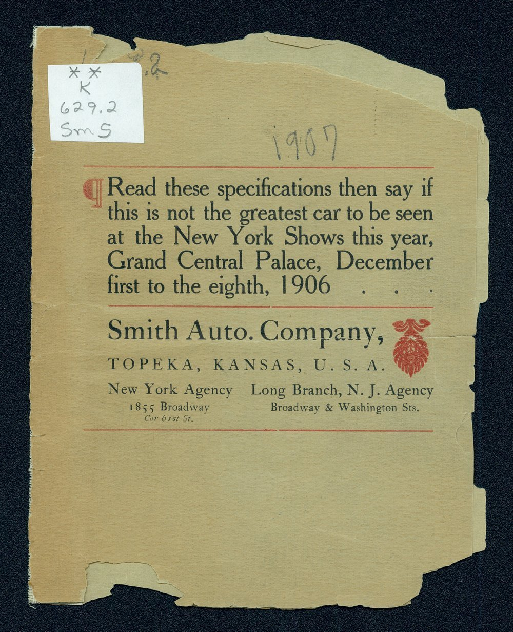 Advance sheet of the 1907 Great Smith car - Front Cover