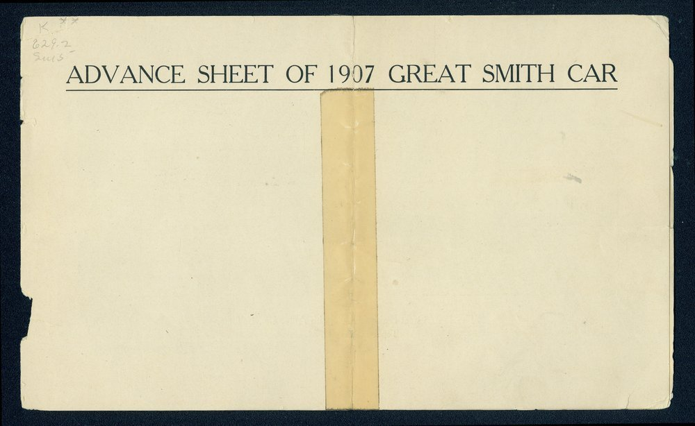 Advance sheet of the 1907 Great Smith car - 1