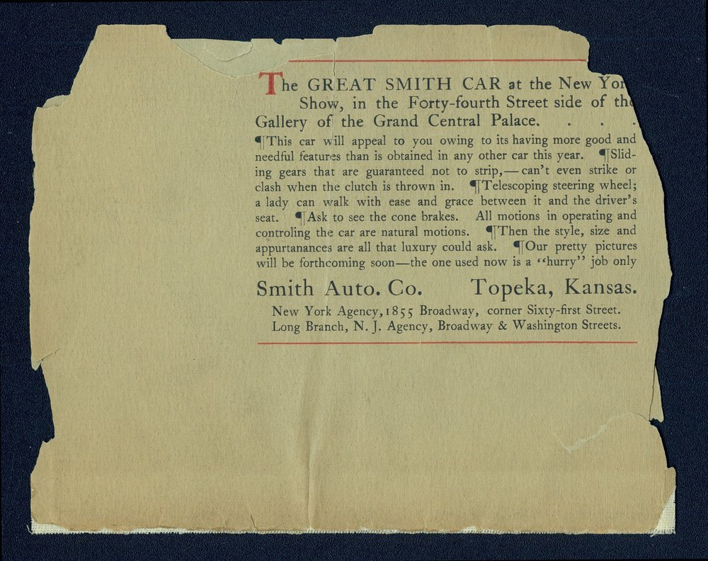 Advance sheet of the 1907 Great Smith car - Back Cover