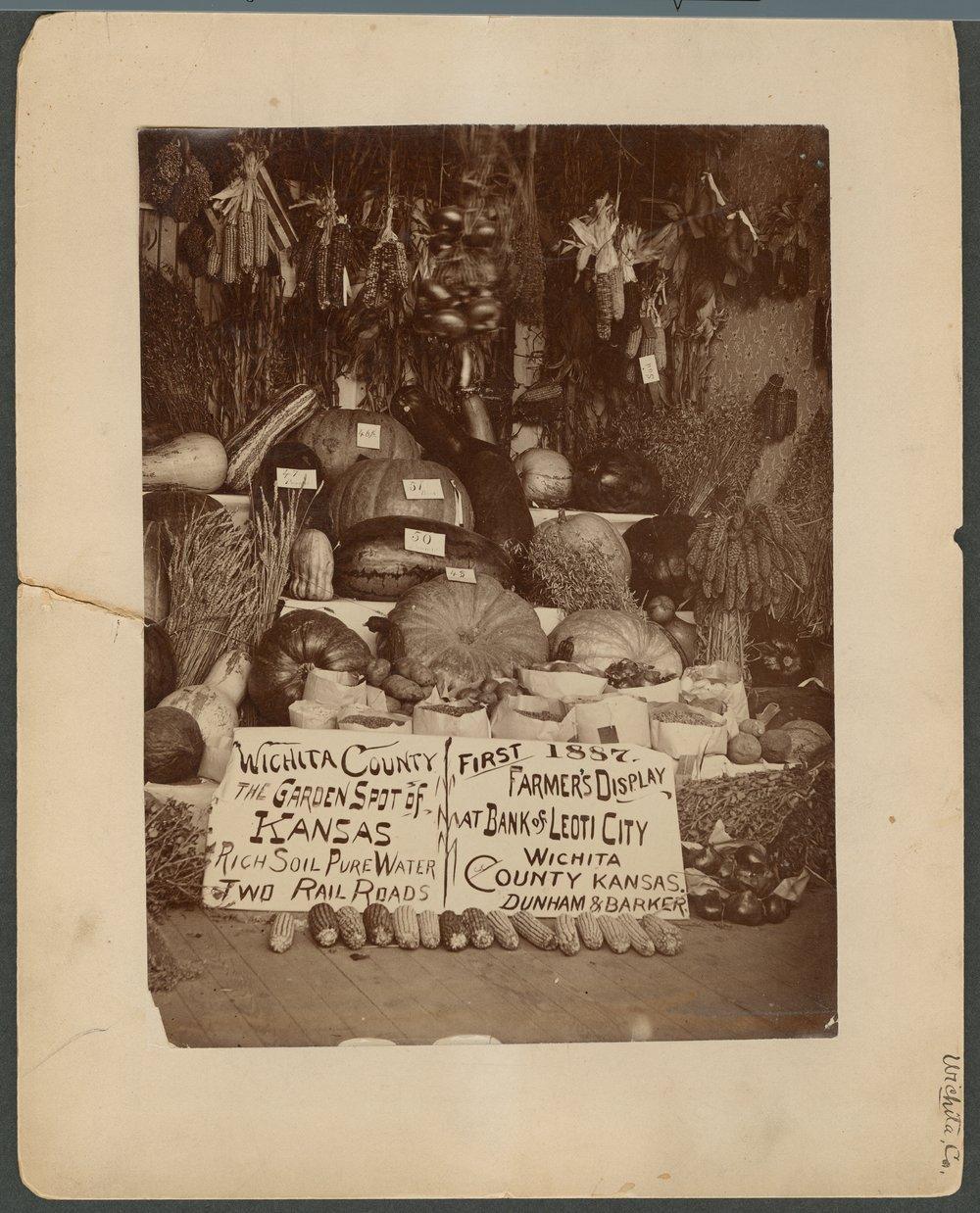 Farmer's display, Wichita County Fair, Kansas