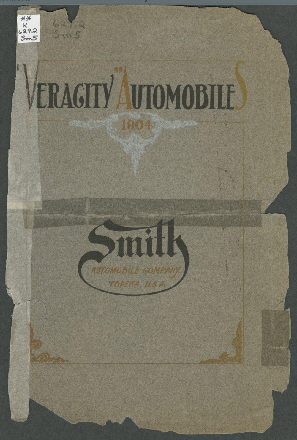 Veracity automobiles. Smith Automobile Company, Topeka, Kansas - Front Cover