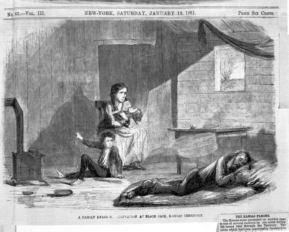 A family dying of starvation in Black Jack, Kansas Territory