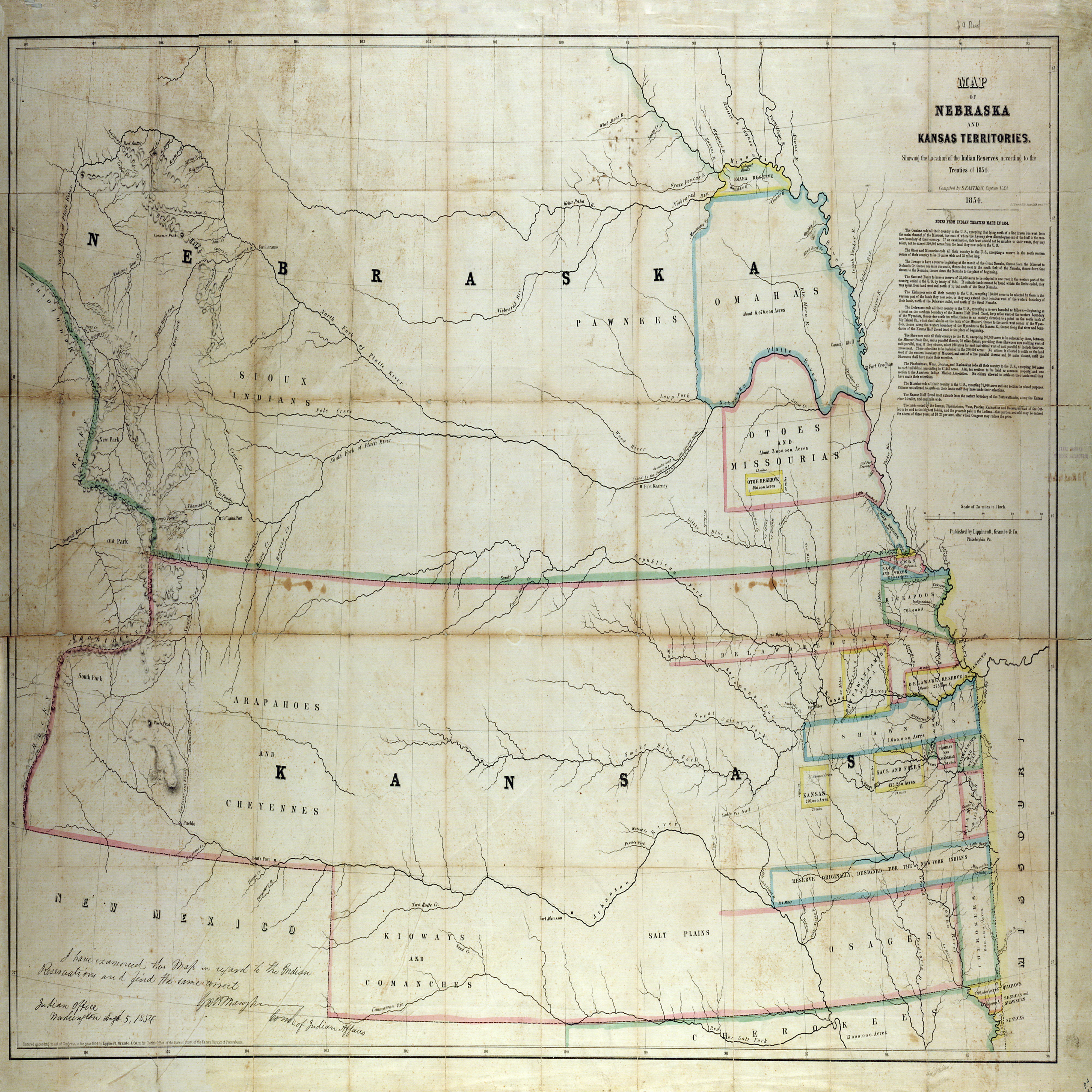 Eastman's map of Kansas and Nebraska territories showing the location of the Indian reserves according to the treaties of 1854