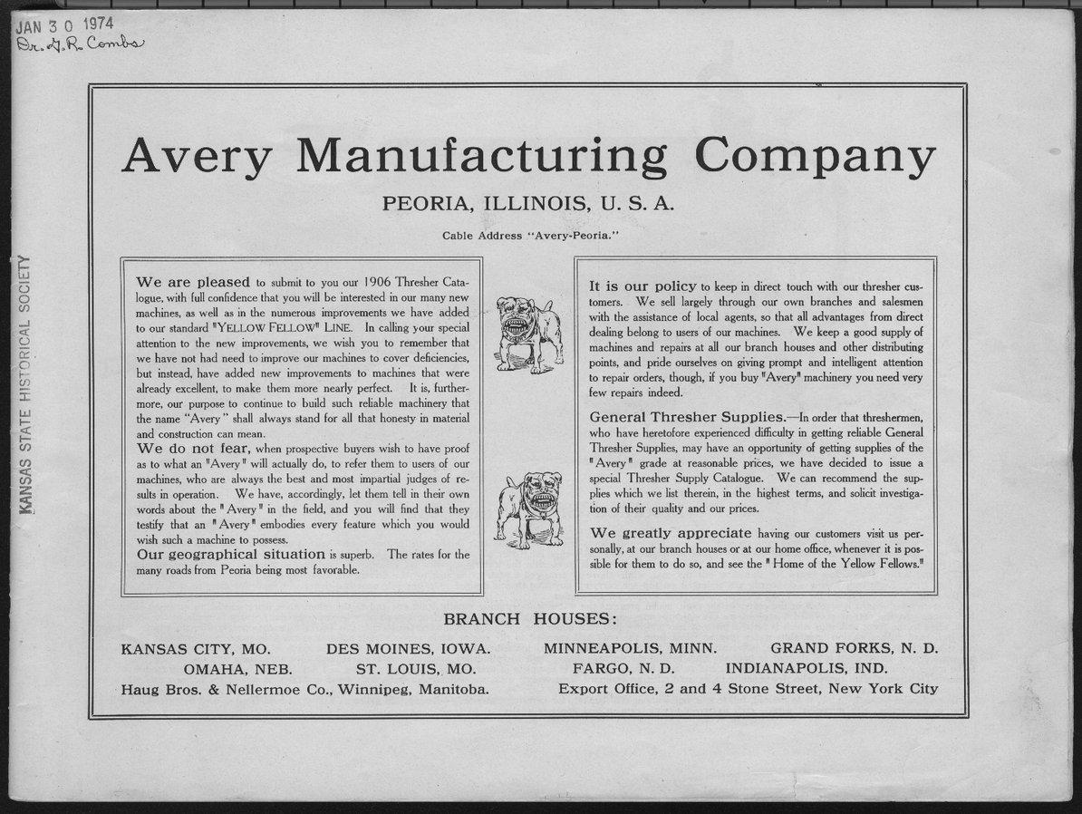 Avery Manufacturing Company catalog - 1