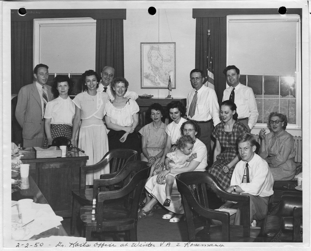 Dr. Karl Menninger - This photograph is of Dr. Karl's office and staff at Winter VA with Rosemary.