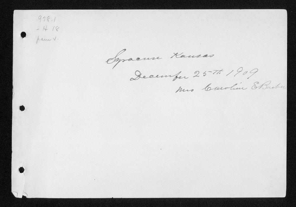 Souvenir, Hamilton County and Syracuse, Kansas - Date & Name