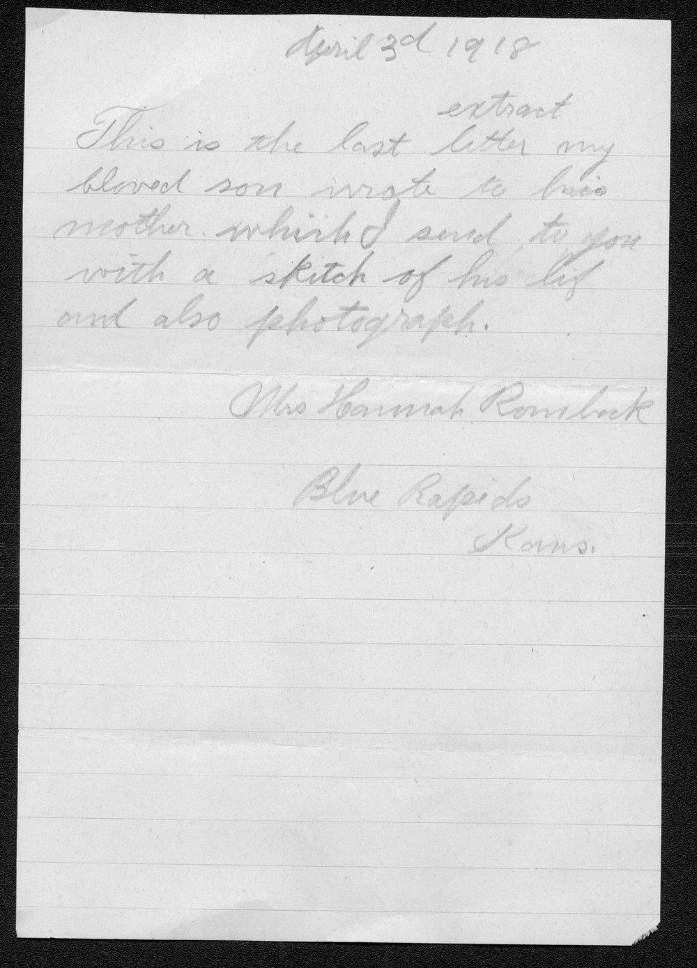 William J. Rombeck, World War I soldier - 5