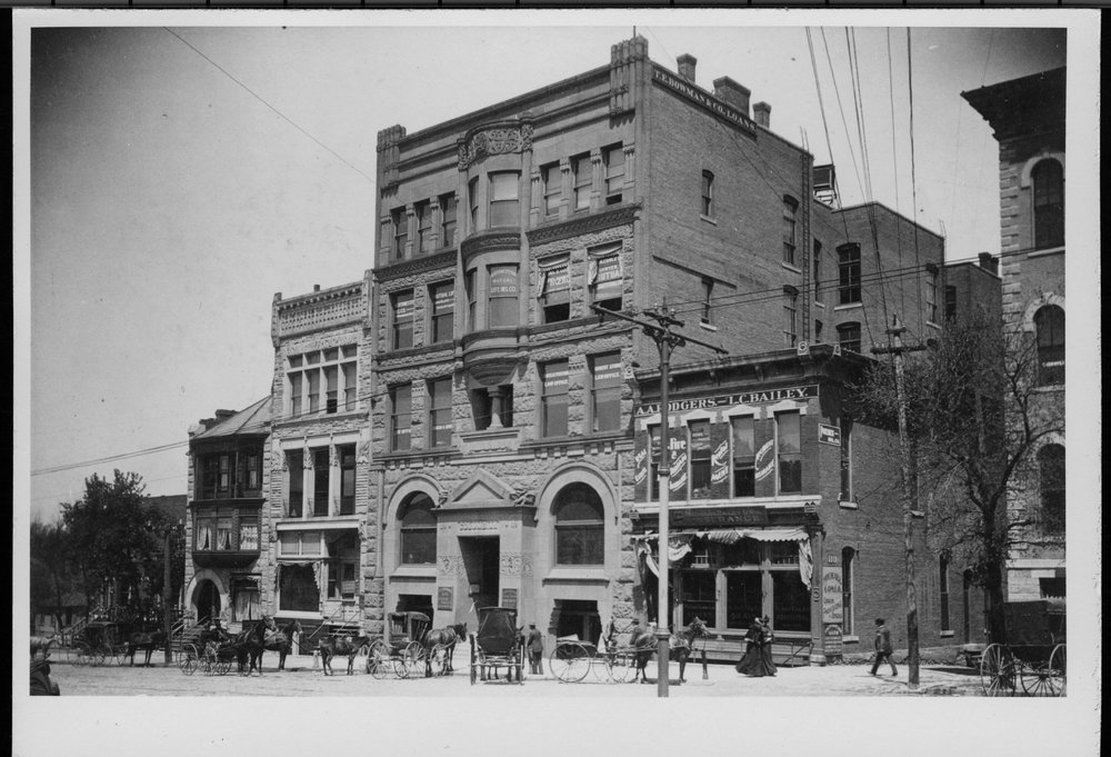 Dr. Charles F. Menninger and his interests - Dr. C. F.'s medical office was in the building to the farthest left, 100 block of West Sixth St. He practiced with Dr. Roby.