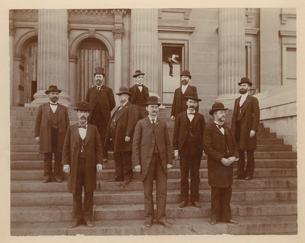Dr. Charles F. Menninger and his interests - Dr. C. F. served with the Kansas State Board of Health.  He is on the far right in this photograph taken about 1898.