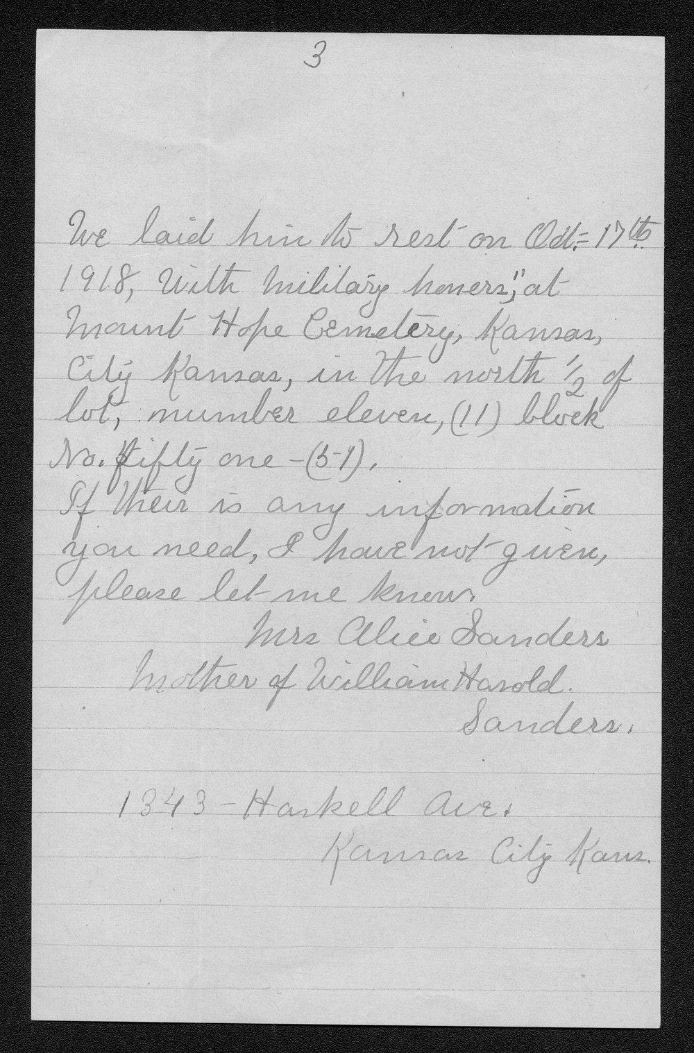 William Harold Sanders, World War I soldier - 5
