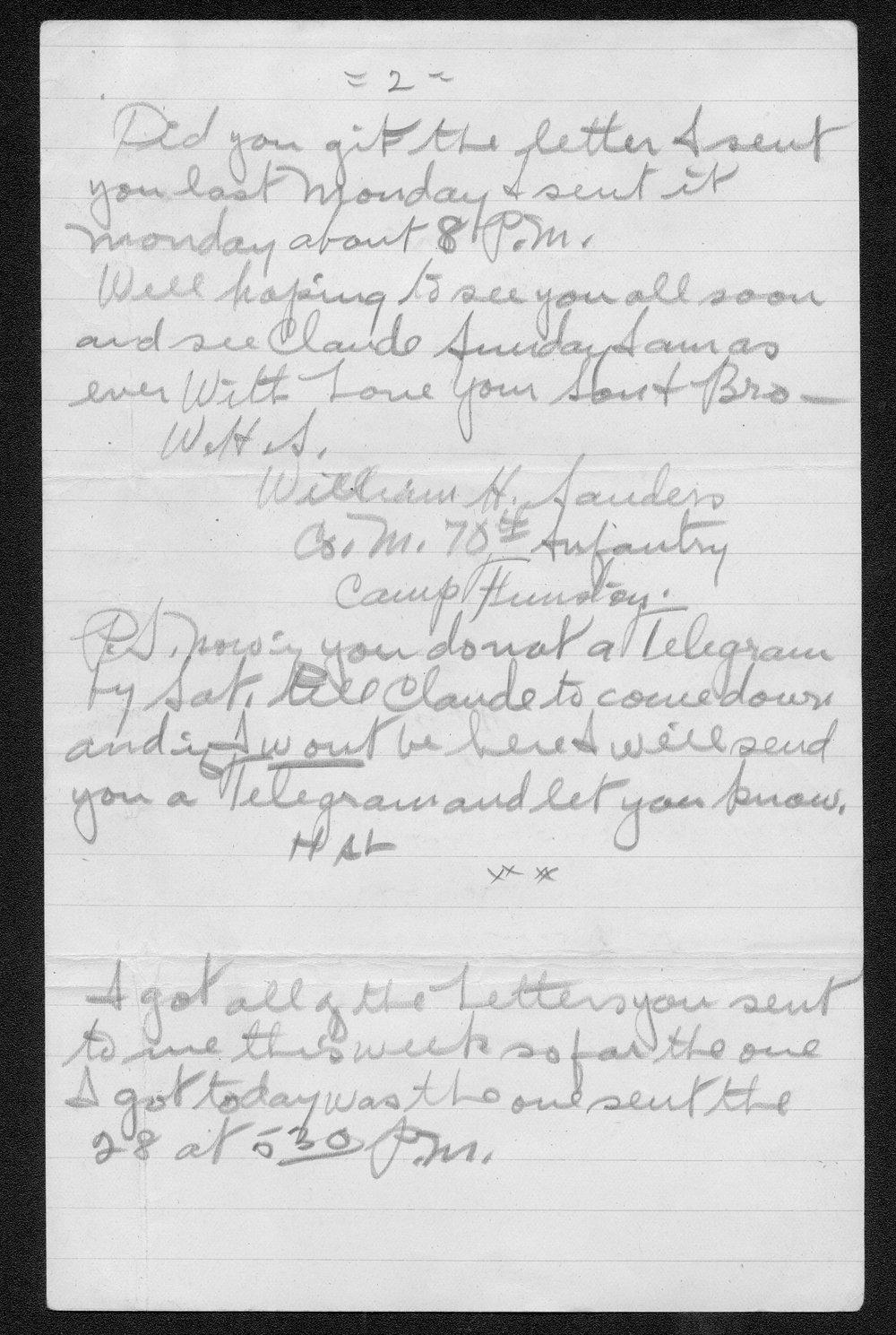 William Harold Sanders, World War I soldier - 10
