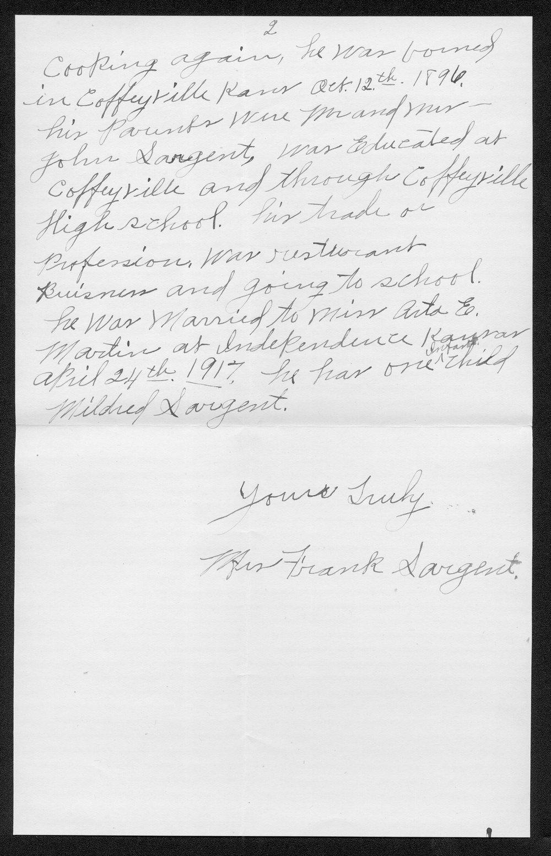 Frank H. Sargent, World War I soldier - 2