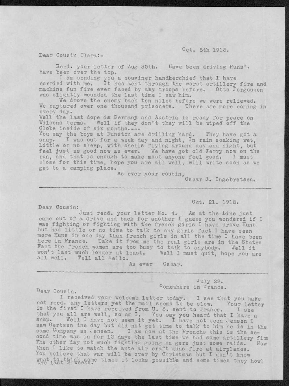 Oscar J. Ingebretsen, World War I soldier - 9
