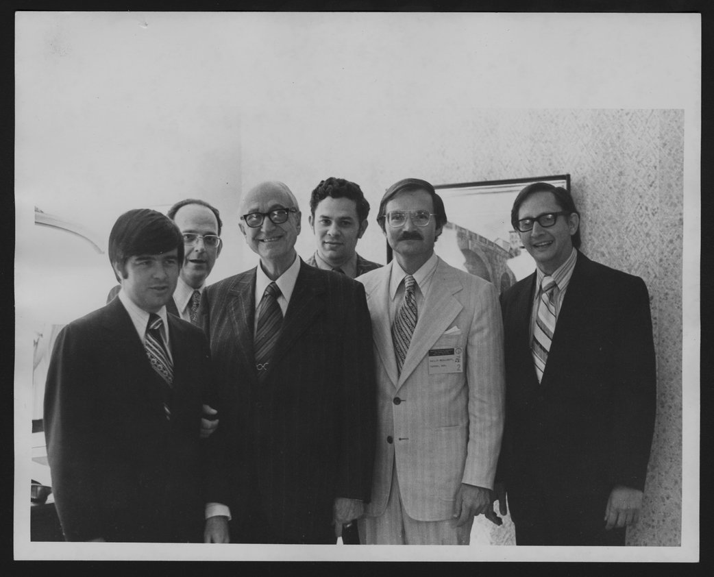 Karl Menninger, M.D. - This photograph was taken at the MSP alumni hospitality room in Hotel Adolphus, Dallas, Texas in May 1972.  Shown here are P. K. Worley, Dr. Bob, Dr. Karl, Dr. Dave Morrison, Dr. Phil Woollcott, and Dr. C. D. Glazzard.