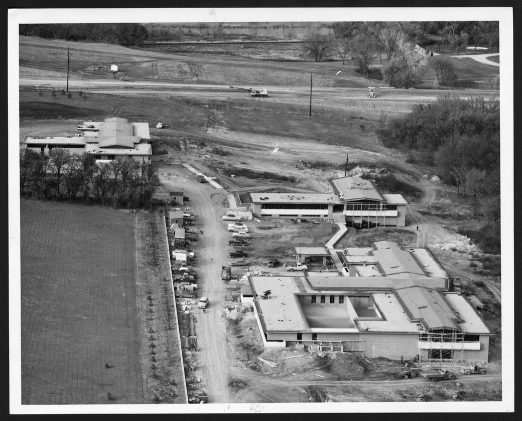 Aerial view of construction of the Children's Division of the  Menninger Clinic in Topeka, Kansas