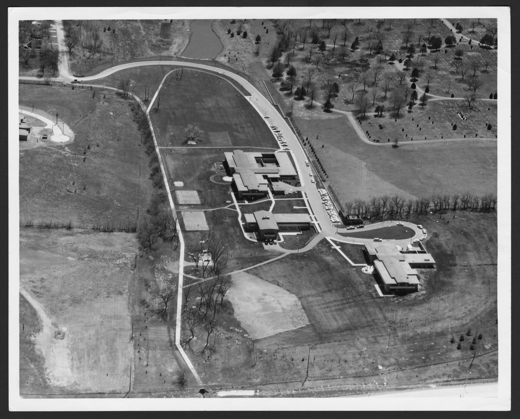 Aerial views of the Menninger Clinic Children's Division in Topeka, Kansas - This aerial view of the completed Children's Division is looking south.
