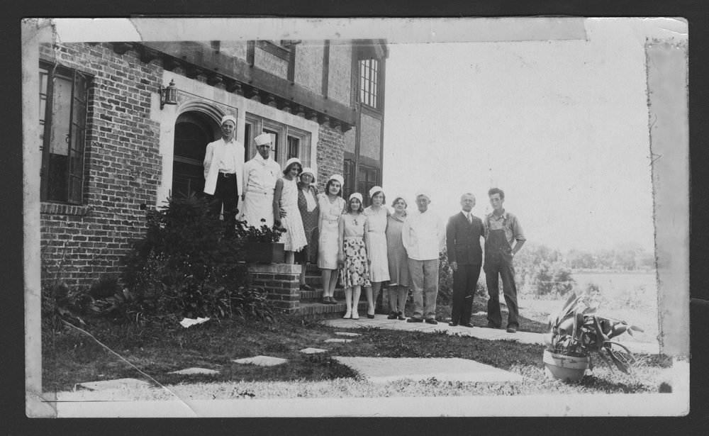 Menninger Clinc Sanitarium staff, Southard School - A photograph of Sanitarium staff on the East Lodge steps, summer of 1930.  Shown are Roger Hale, Joe Sumper, Beatric Berclay, Mrs. McComas, Georgia Mill, Bernice Berclay, Rugh English, Madeline Lane, John Berclay, Albert H. Mendoza, and Edwin Williams.