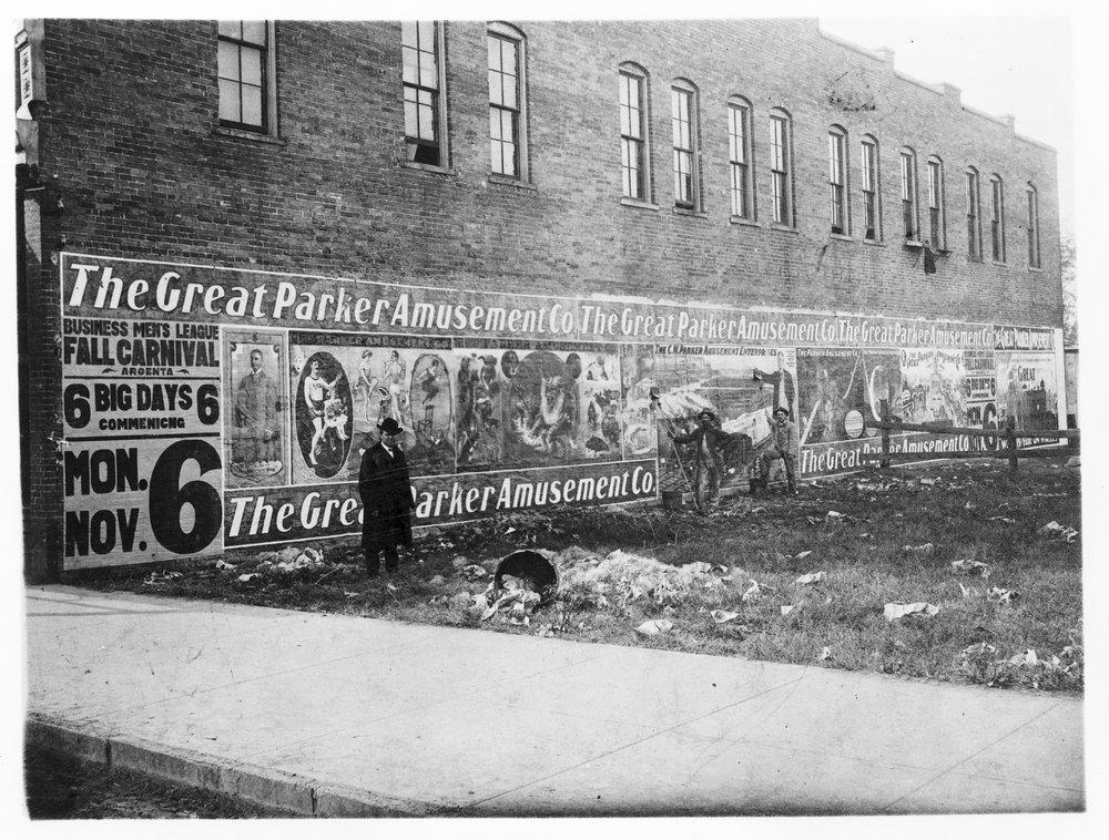 C. W. Parker Amusement Company billboard in Abilene, Kansas