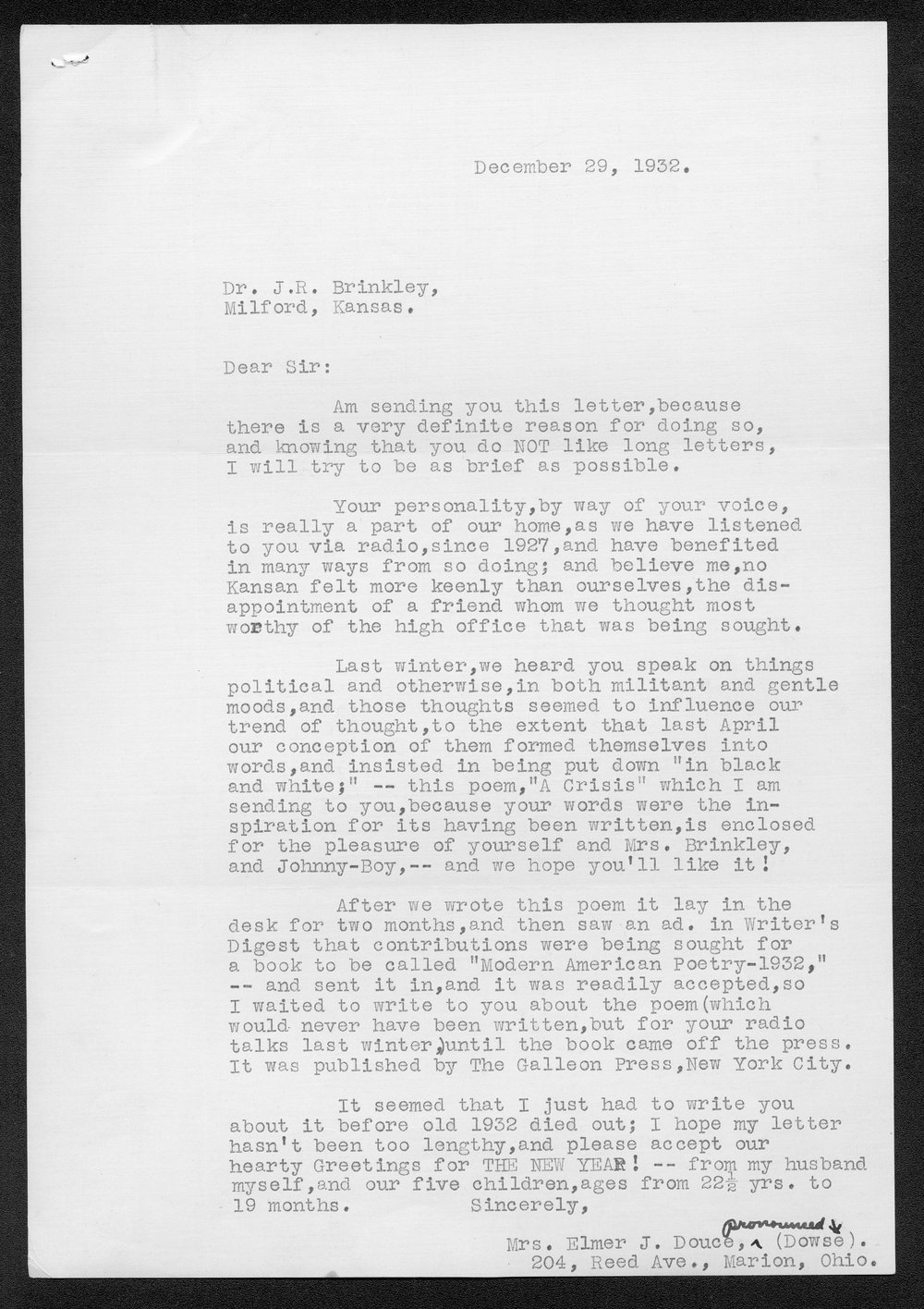 John R. Brinkley correspondence and political material - 1