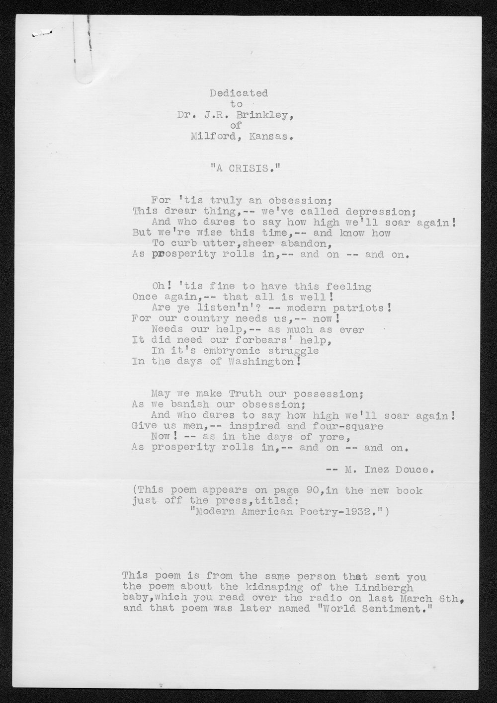 John R. Brinkley correspondence and political material - 2