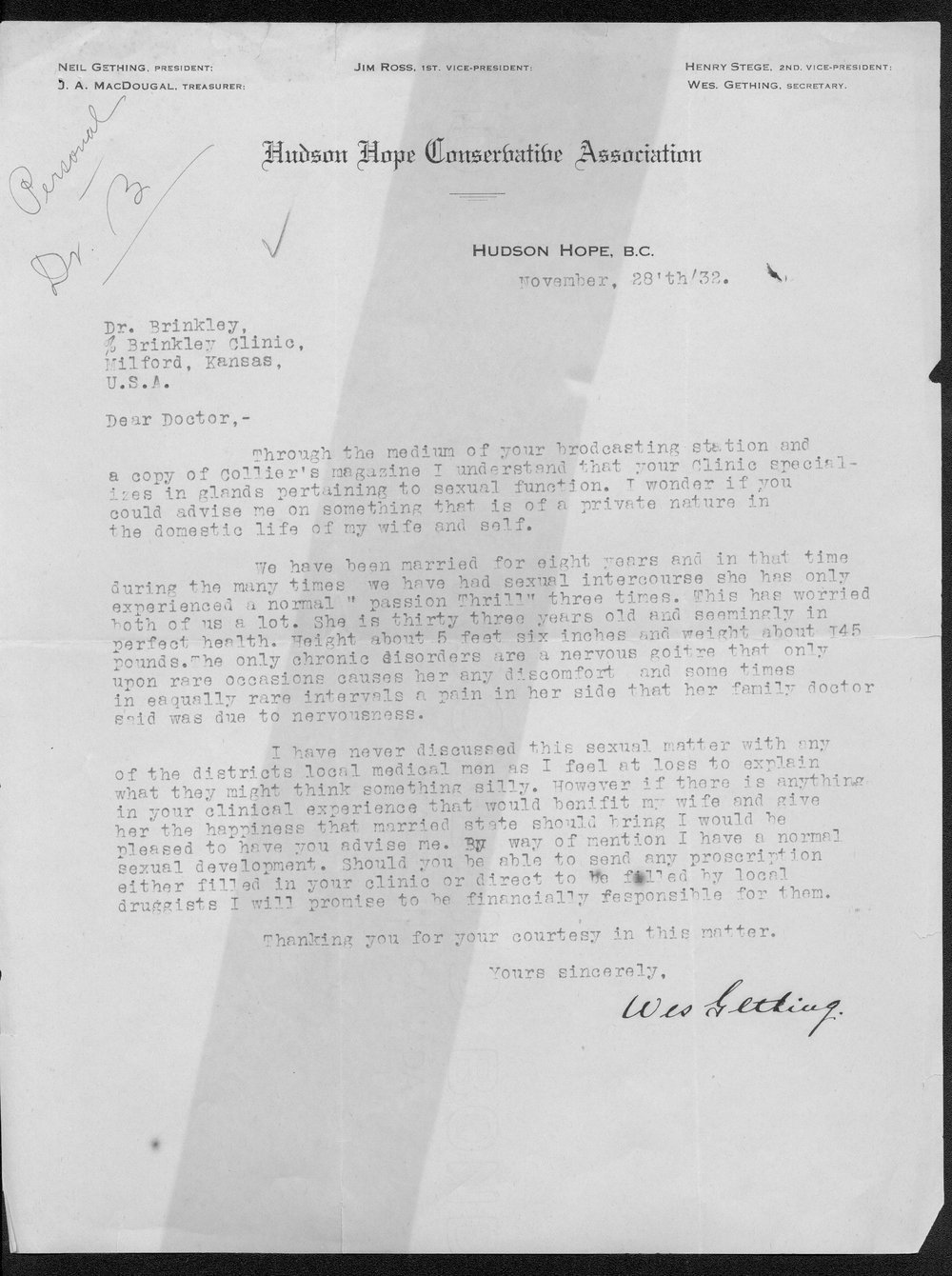 John R. Brinkley correspondence and political material - 5